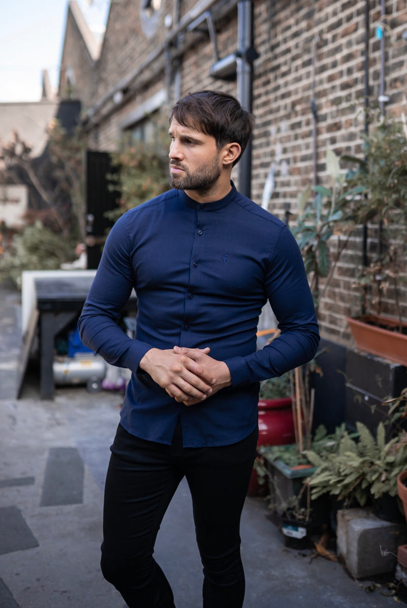 Father Sons Super Slim Stretch Grandad Collar Classic Navy Oxford  Long Sleeve - FS583
