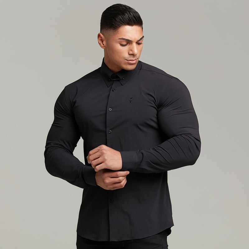 Father Sons Classic Black Stretch Shirt with Gold Pin Collar - FS569