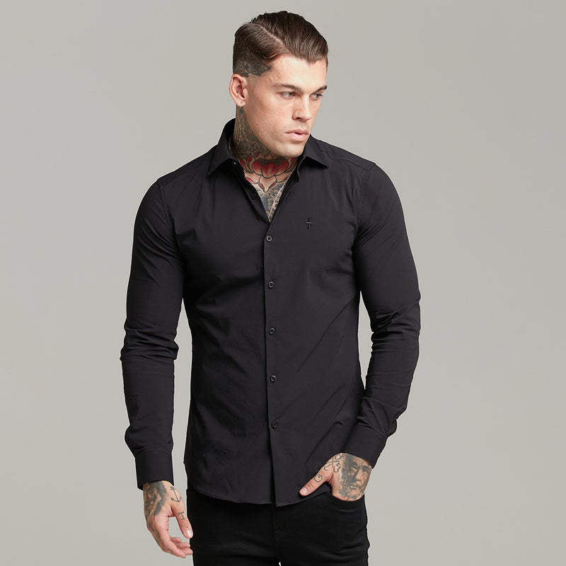 Father Sons Black Regular Stretch Shirt with Cutaway Collar and Black Embroidery - FS592