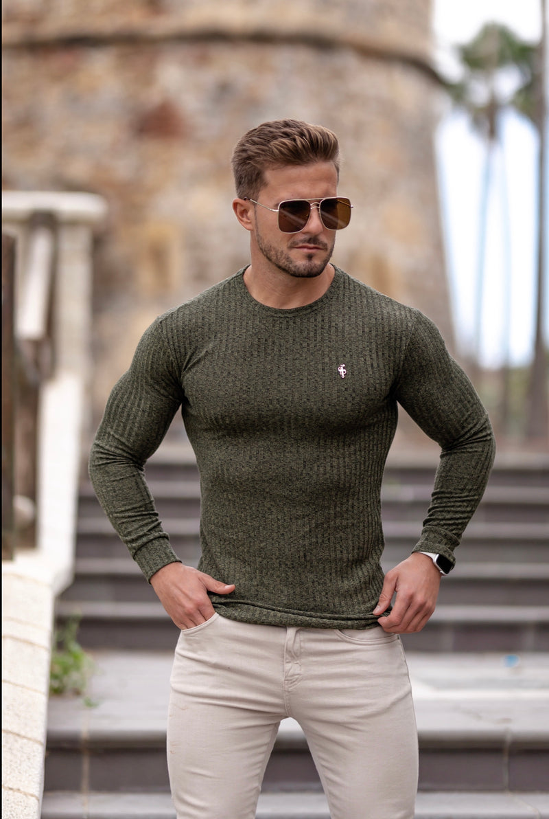 Father Sons Classic Khaki Ribbed Knit Jumper With Gold Emblem - FSH536