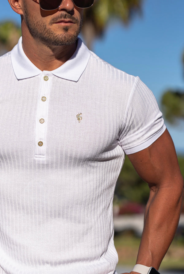 Father Sons Classic White Ribbed Polo Shirt with Gold Metal Emblem Decal & Buttons- FSH496