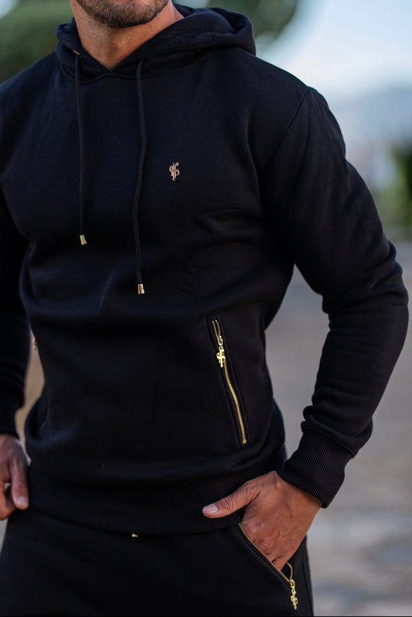 Father Sons Black & Gold Overhead Hoodie Top with Zipped Pockets - FSH472