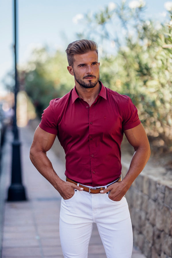 Father Sons Super Slim Stretch Classic Oxblood Red Short Sleeve - FS180