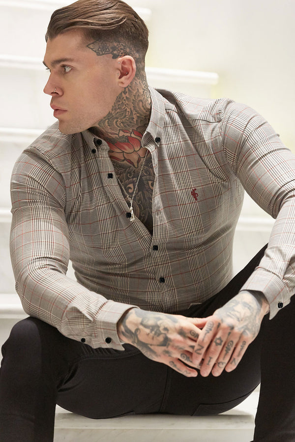 Father Sons Super Slim Stretch Prince Of Wales Grey, White Charcoal Red Check Long Sleeve - FS625