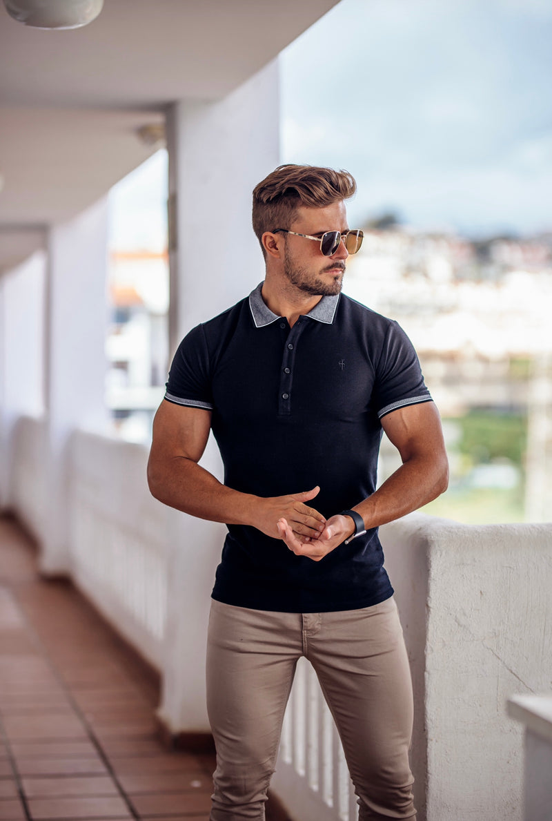 Father Sons Classic Black Honeycomb Textured Polo Shirt with Contrast Collar Short Sleeve  - FSH420