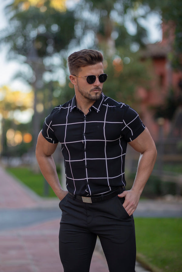 Father Sons Classic Relaxed Black / White Large Grid Check Short Sleeve - FS734