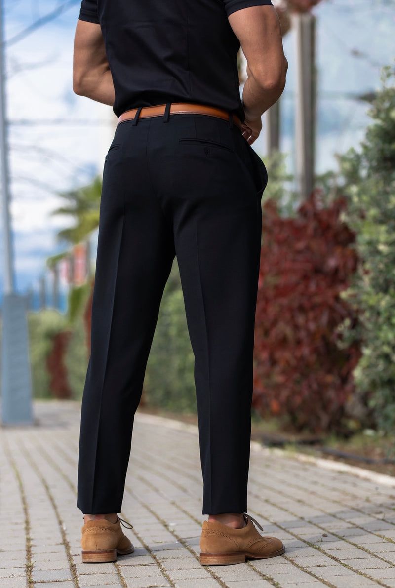 Father Sons Relaxed Formal Black Stretch Trousers - FSTR001 RELAXED