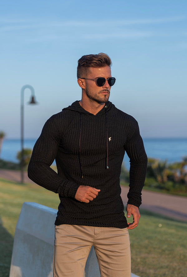 Father Sons Classic Black / Gold Ribbed Knit Hoodie Jumper - FSH511 (PRE ORDER / DISPATCH DATE 12TH OCTOBER)