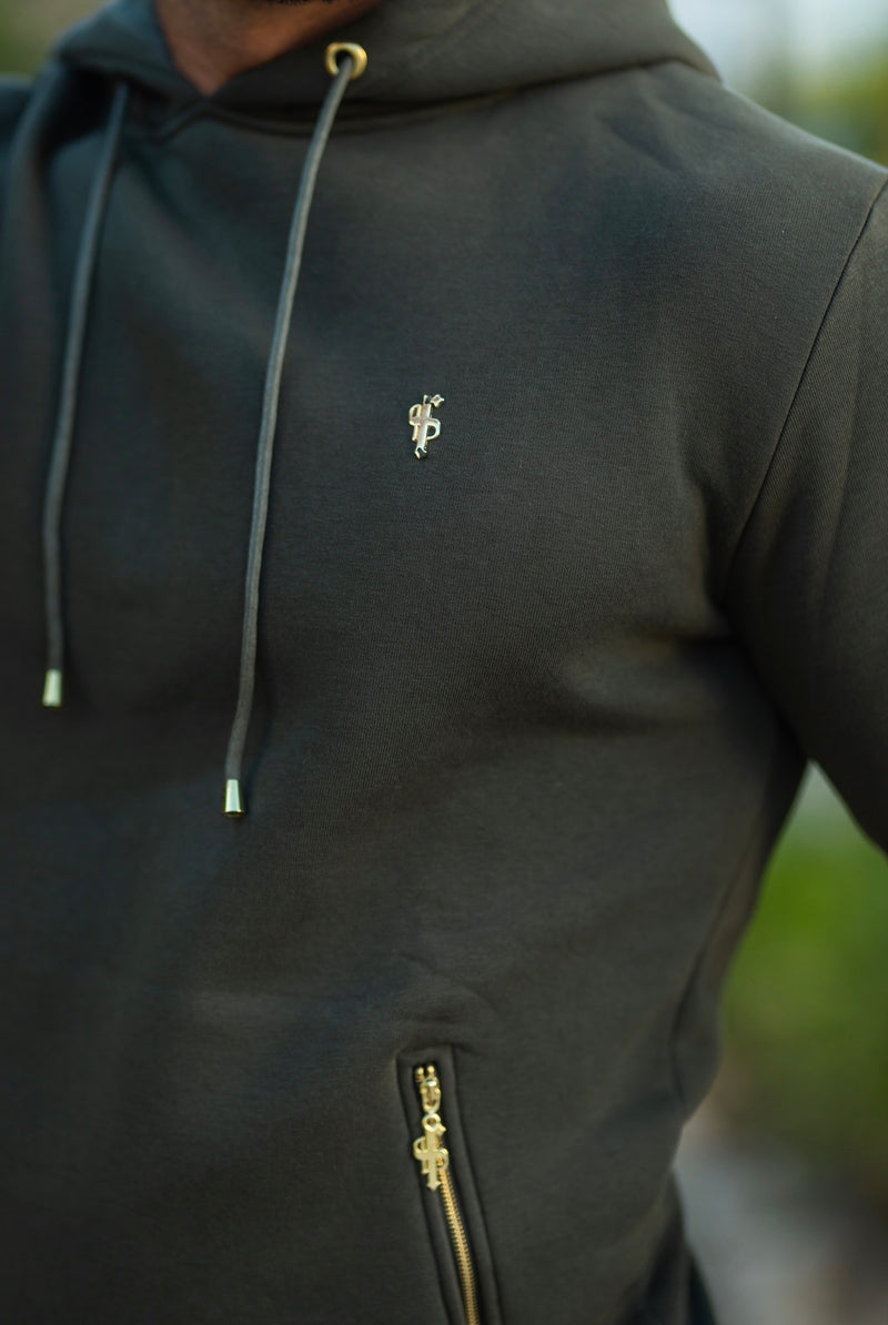Father Sons Khaki & Gold Overhead Hoodie Top with Zipped Pockets - FSH481 (PRE ORDER / DISPATCH DATE 31ST AUGUST)