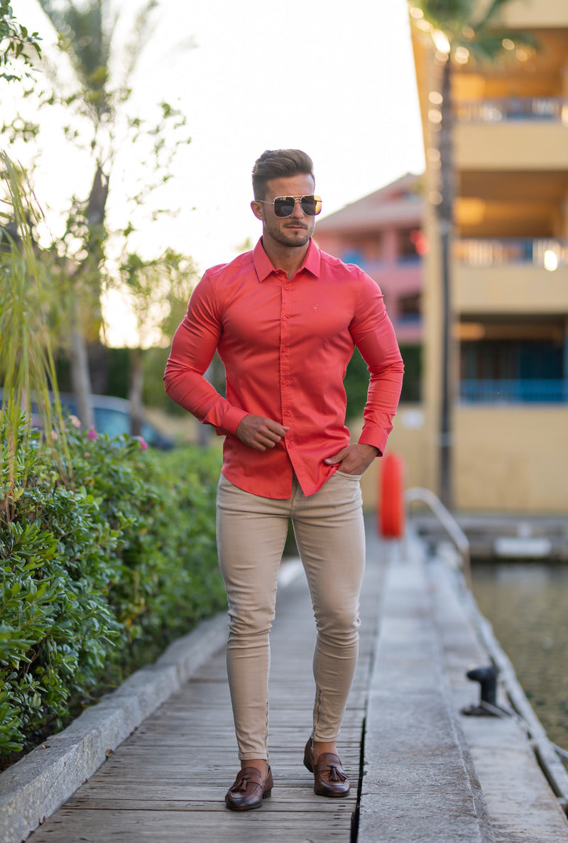 Father Sons Super Slim Luxe Ultra Stretch Classic Coral Long Sleeve -  FS670