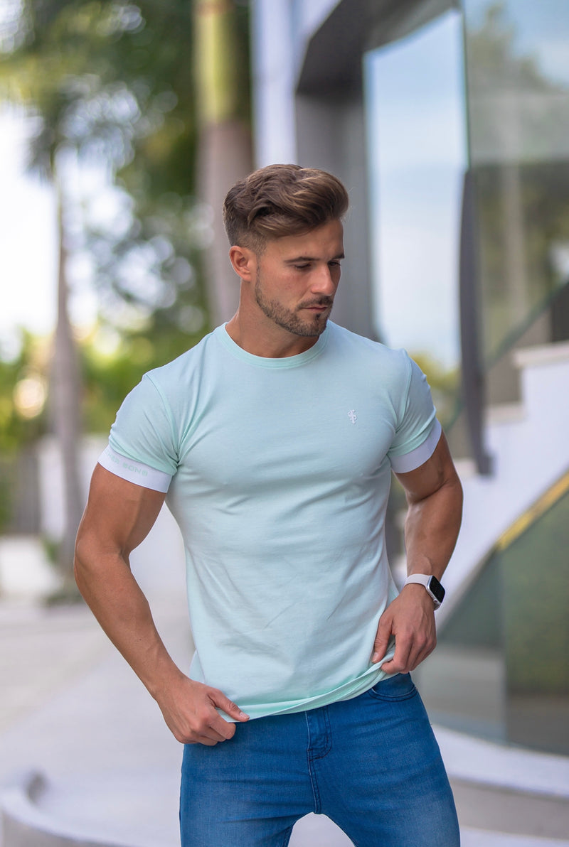 Father Sons Classic Mint Green Crew T Shirt with FS Elastic Sleeve Branding - FSH640 (PRE ORDER 29TH APRIL)