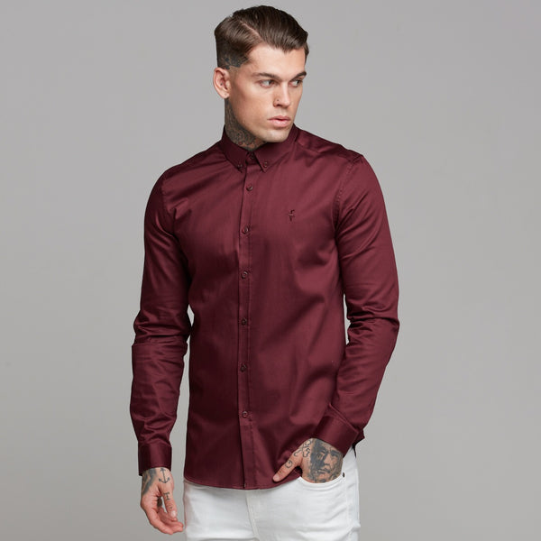 Father Sons Classic Burgundy Luxe Egyptian Cotton Button Down - FS497
