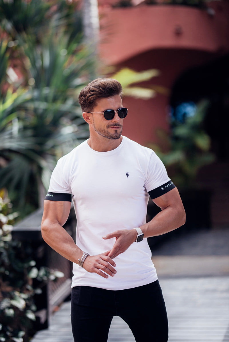 Father Sons Classic White Crew T Shirt with FS Elastic Sleeve Branding - FSH625 (PRE ORDER 23RD APRIL)