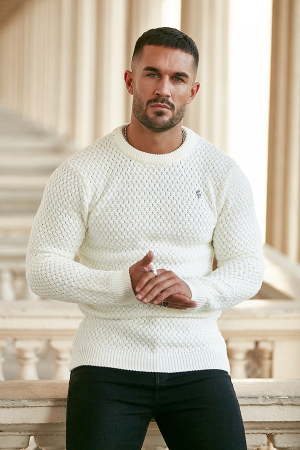Father Sons Cream Knitted Weave Super Slim Jumper With Metal Decal - FSJ012 - PRE-ORDER / DISPATCH 9TH DECEMBER