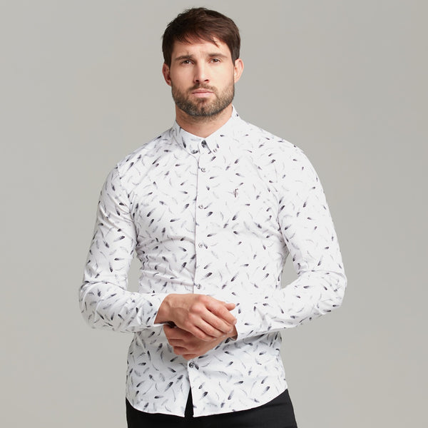 Father Sons Super Slim Stretch Feather Print Long Sleeve - FS429