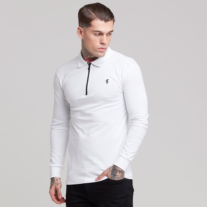 Father Sons Classic White Zipped Long Sleeve Polo Shirt - FSH300