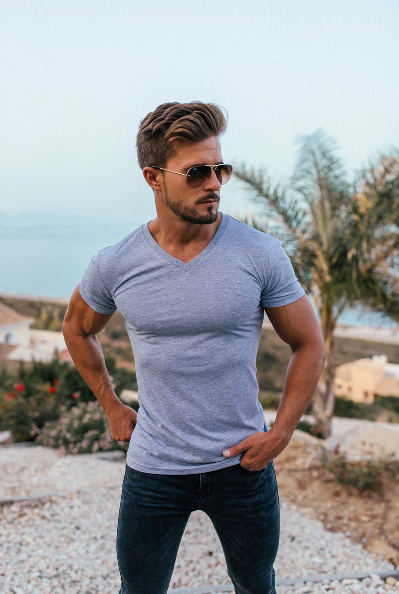 Father Sons Classic Light Grey V Neck - FSH372