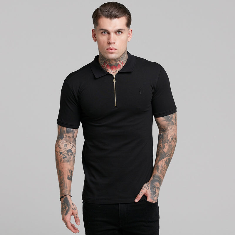 Father Sons Classic Black and Gold Zipped Polo Shirt - FSH239