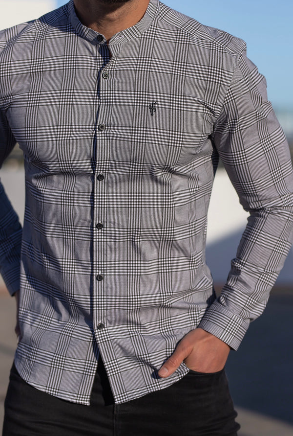 Father Sons Super Slim Stretch Prince Of Wales White and Black Print Check Long Sleeve with Grandad Collar- FS746