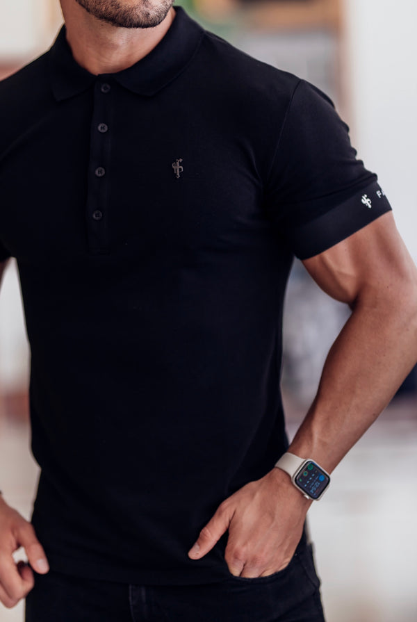 Father Sons Classic Black Polo with FS Elastic Sleeve Branding and Black Metal Emblem - FSH631