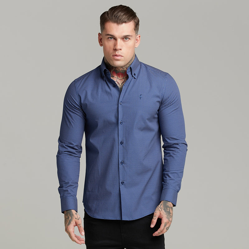 Father Sons Classic Navy Print Button Down - FS606