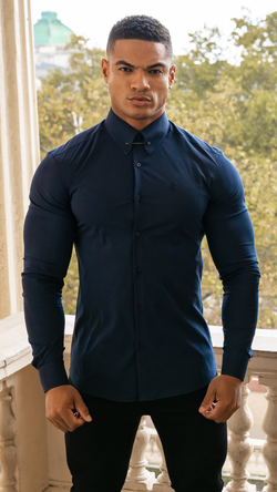 Father Sons Classic Navy Stretch Shirt with Gold Pin Collar - FS570