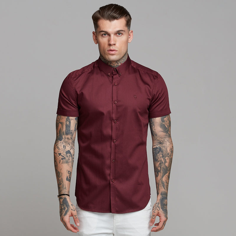 Father Sons Classic Burgundy Luxe Egyptian Cotton Button Down Short Sleeve - FS498