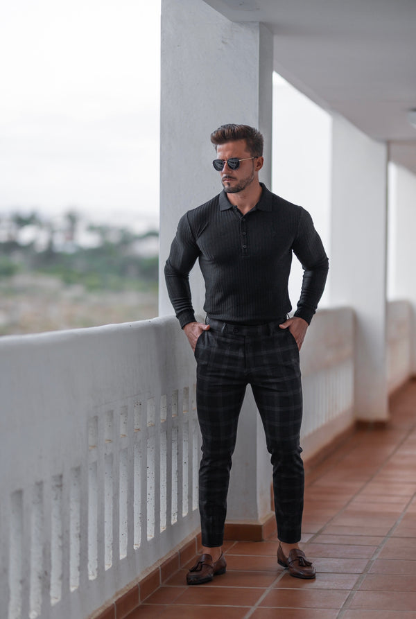 Father Sons Slim Formal Large Charcoal Check Stretch Trousers - FST007