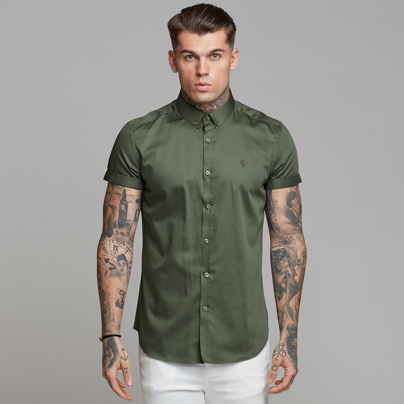 Father Sons Classic Button Down Khaki Luxe Egyptian Cotton Short Sleeve - FS502