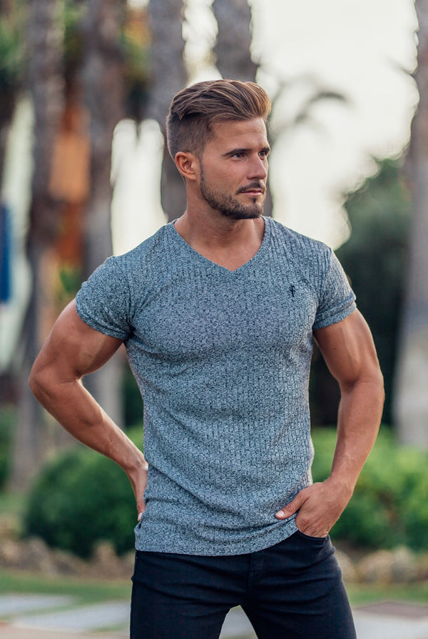 Father Sons Classic Grey V Neck Ribbed Crew - FSH388