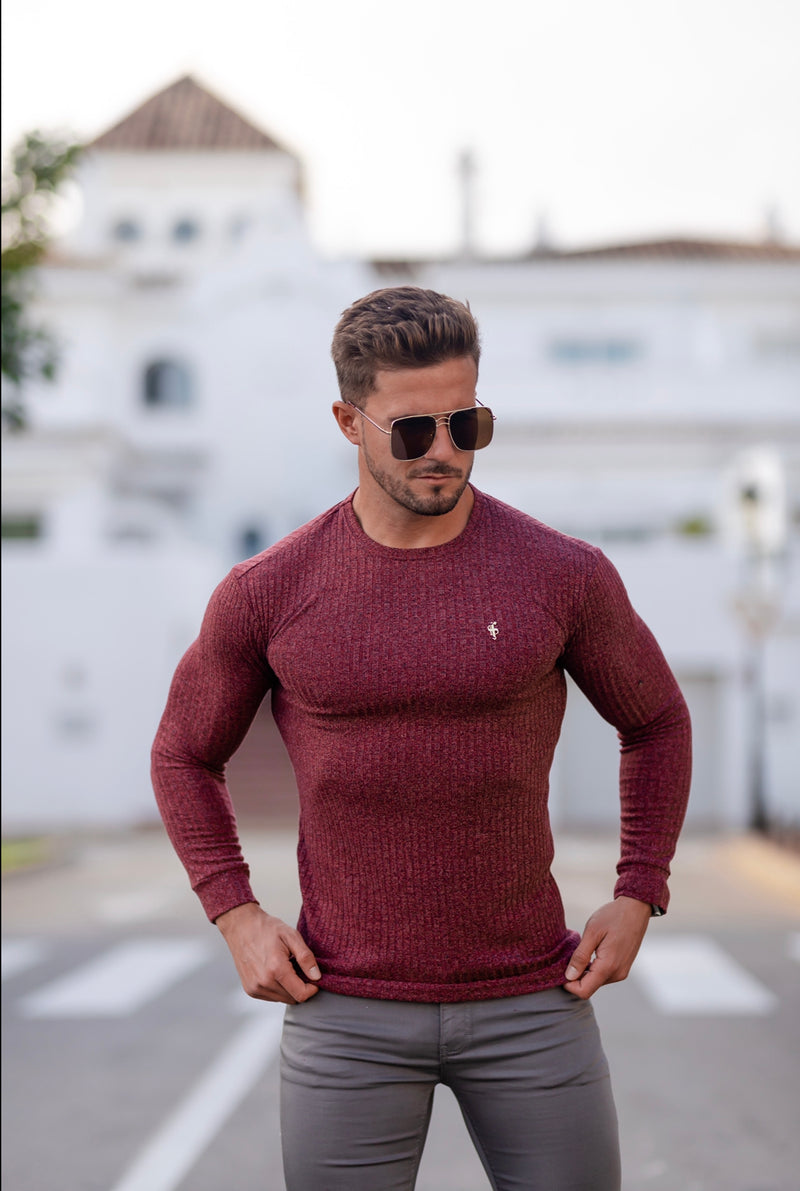 Father Sons Classic Claret Ribbed Knit Jumper With Gold Metal Emblem - FSH538