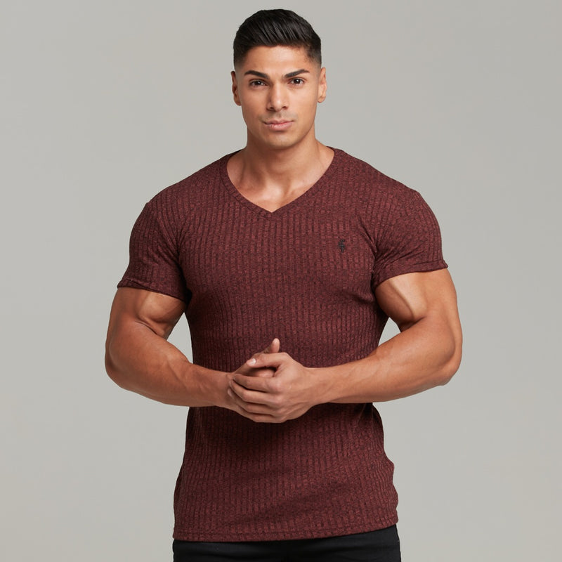 Father Sons Classic Burgundy V Neck Ribbed Crew - FSH391