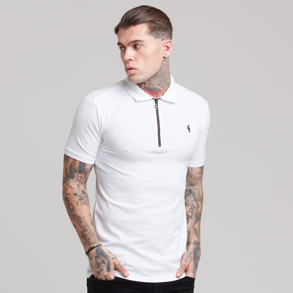 Father Sons Classic White Zipped Polo Shirt - FSH299