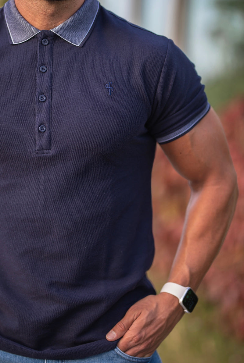 Father Sons Classic Navy Honeycomb Textured Polo Shirt with Contrast Collar Short Sleeve  - FSH424