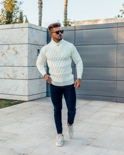 Father Sons Chunky Cable Knit Cream Jumper - FSJ001