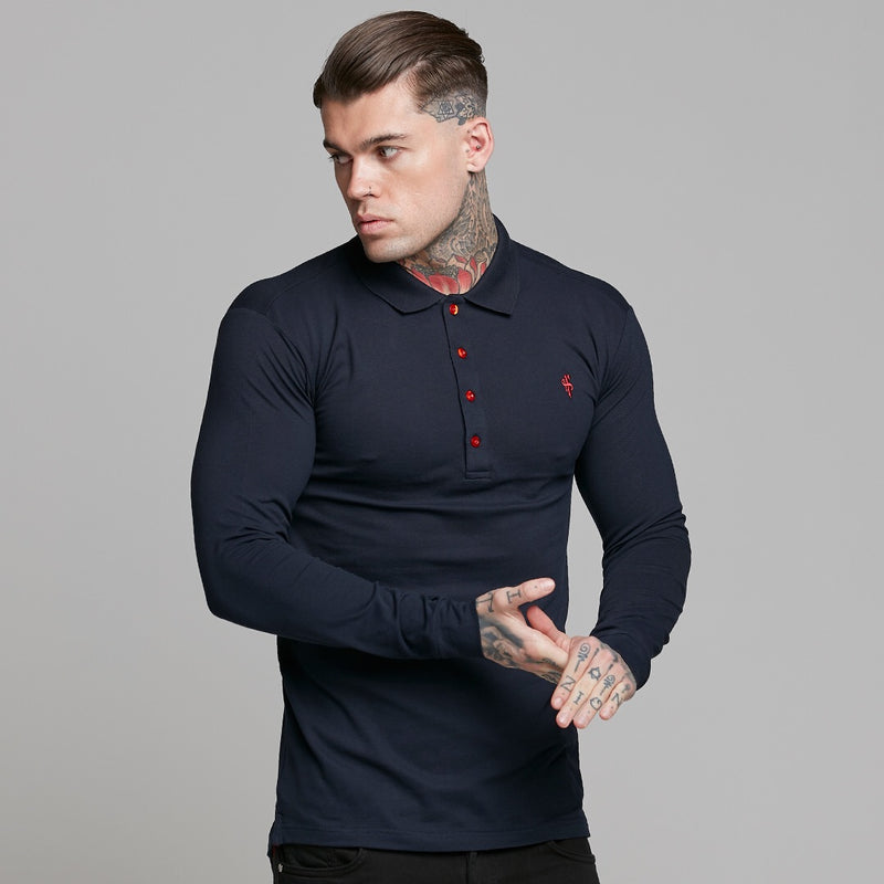 Father Sons Classic Navy and Red Contrast Polo Shirt Long Sleeve - FSH326 (PRE ORDER > 24TH SEPTEMBER)