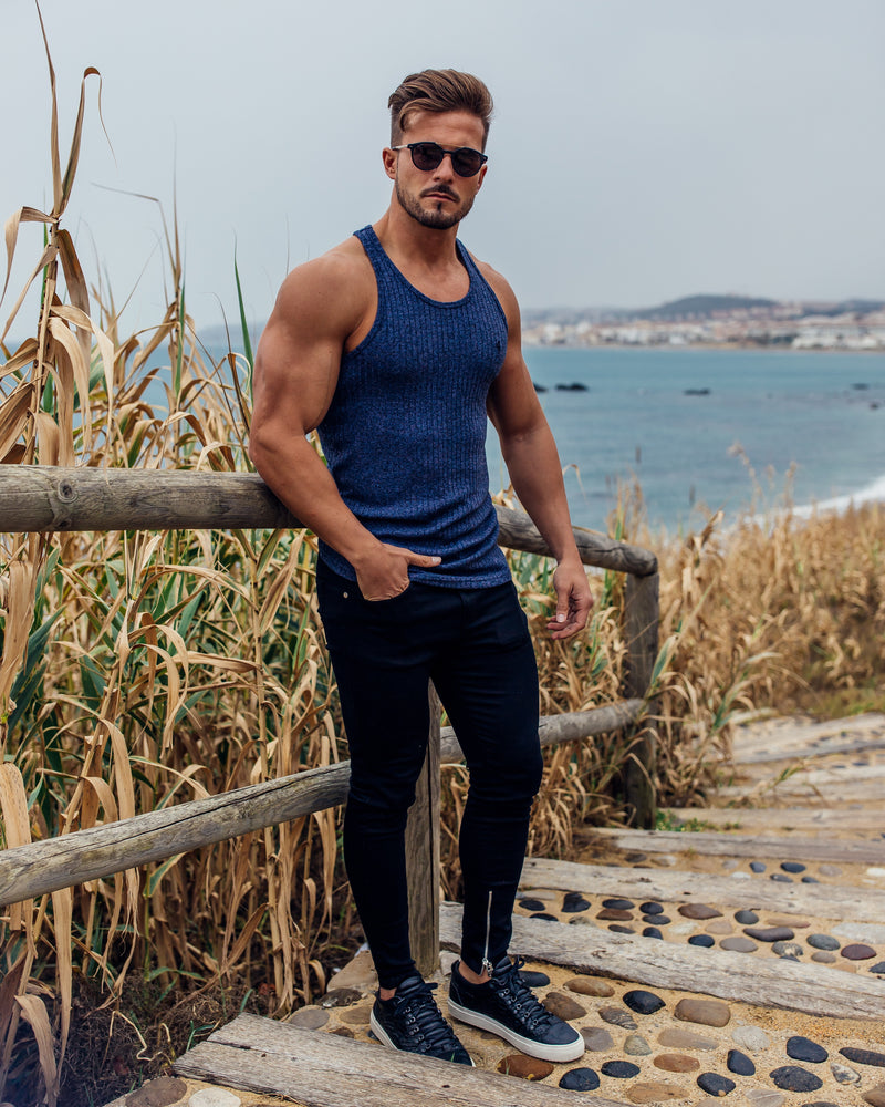 Father Sons Classic Navy Ribbed Knit Super Slim Vest - FSH347