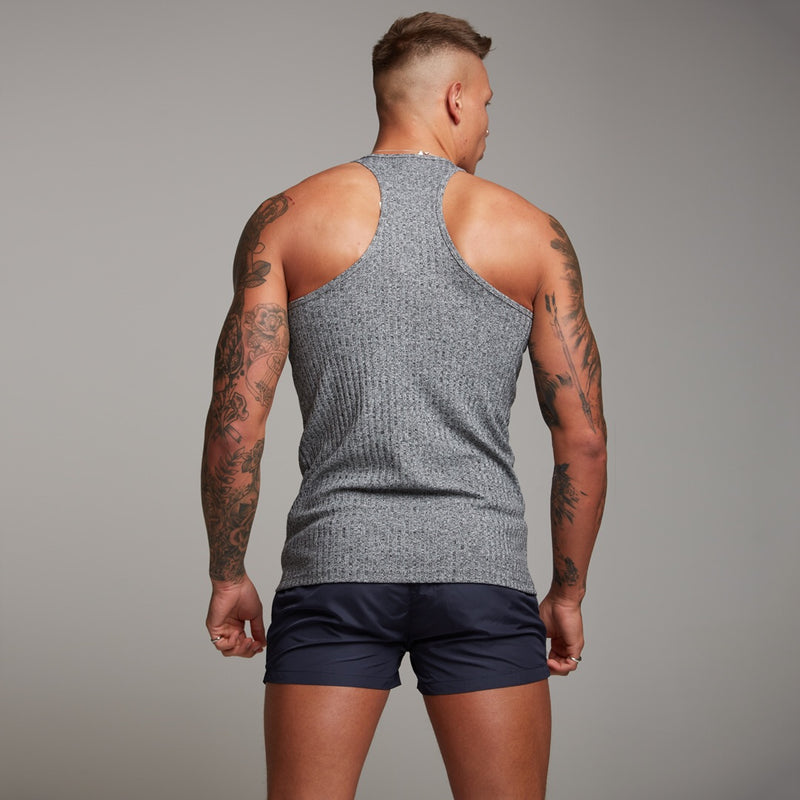 Father Sons Classic Grey Ribbed Knit Super Slim Vest - FSH346