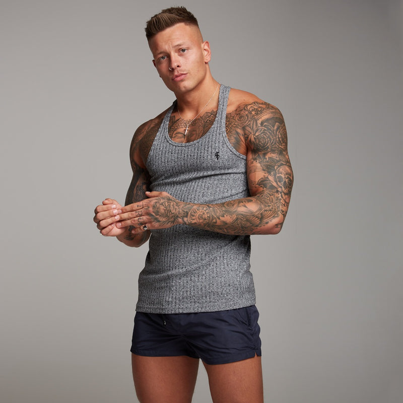 Father Sons Classic Grey Ribbed Knit Super Slim Vest - FSH346 (PRE ORDER > 24TH SEPTEMBER)
