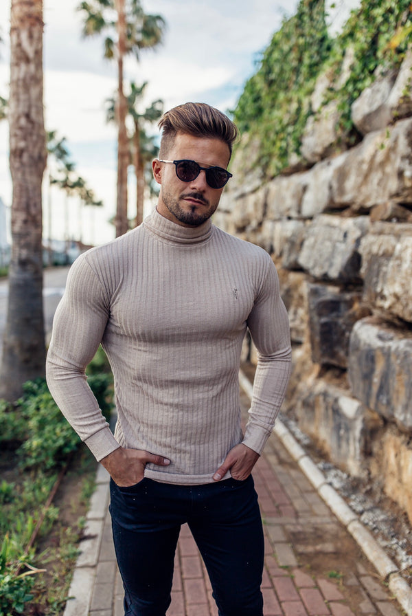 Father Sons Classic Beige Ribbed Knit Roll-neck Jumper - FSH292 (PRE ORDER 7TH DECEMBER)