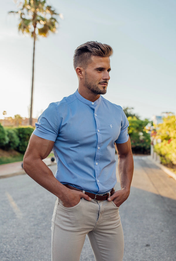 Father Sons Super Slim Stretch Light Blue Grandad Collar Short Sleeve - FS556