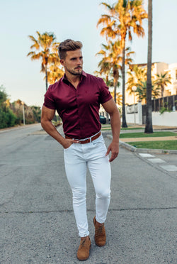 Father Sons Slim Sateen Burgundy Short Sleeve - FS550