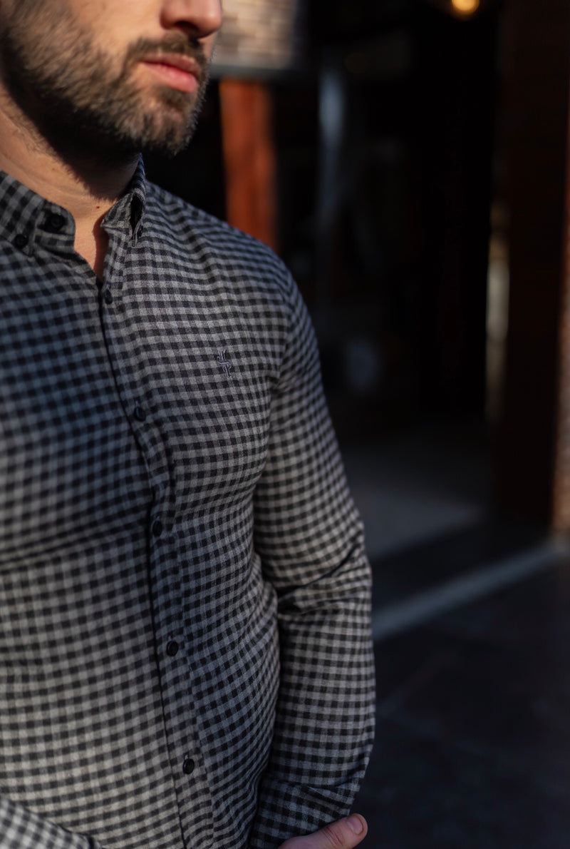 Father Sons Classic Black & Grey Brushed Check Long Sleeve (Grey Emblem) - FS411