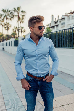 Father Sons Slim Sateen Classic Light Blue Long Sleeve - FS551 (PRE ORDER 14TH DECEMBER)