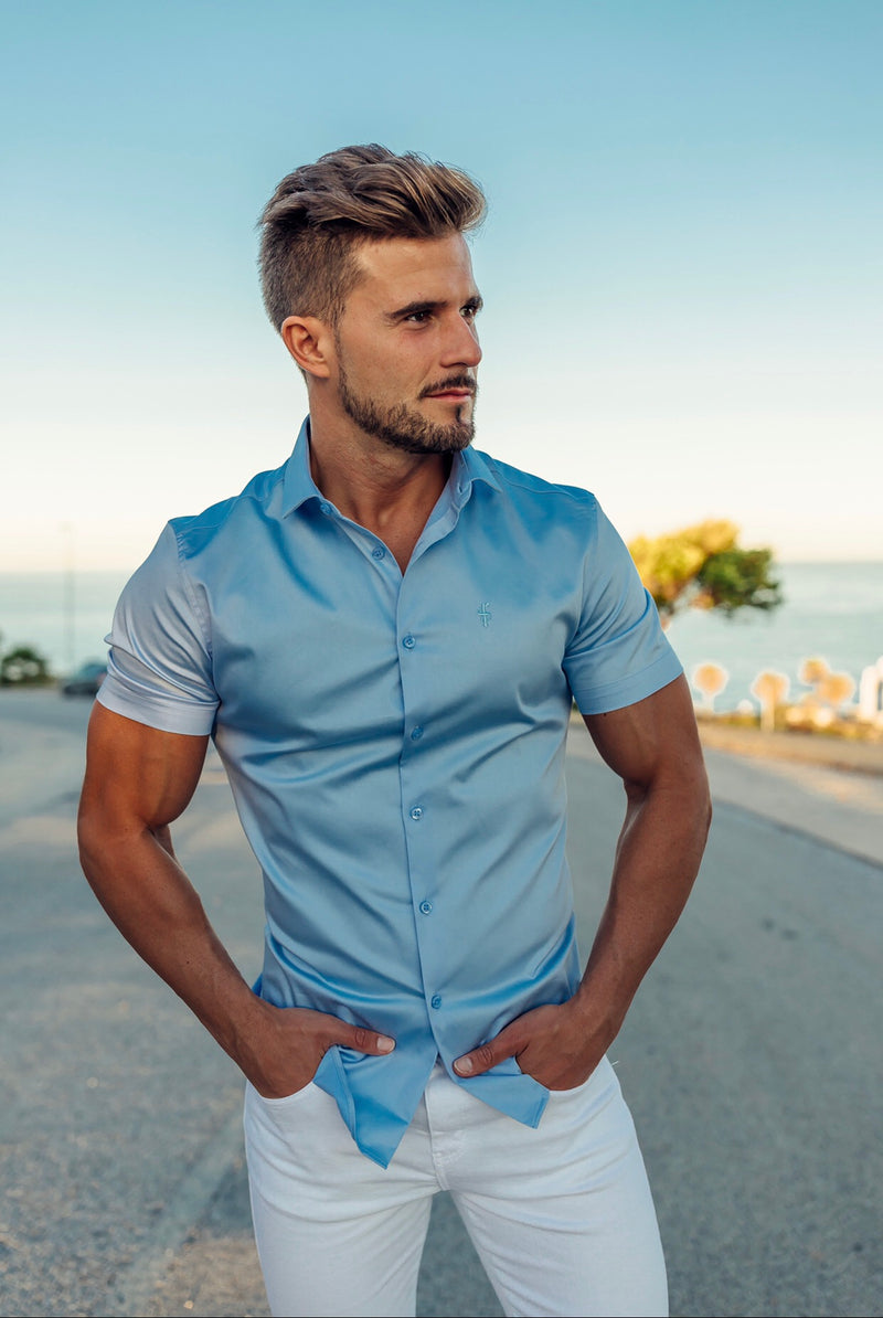 Father Sons Slim Sateen Classic Light Blue Short Sleeve - FS552