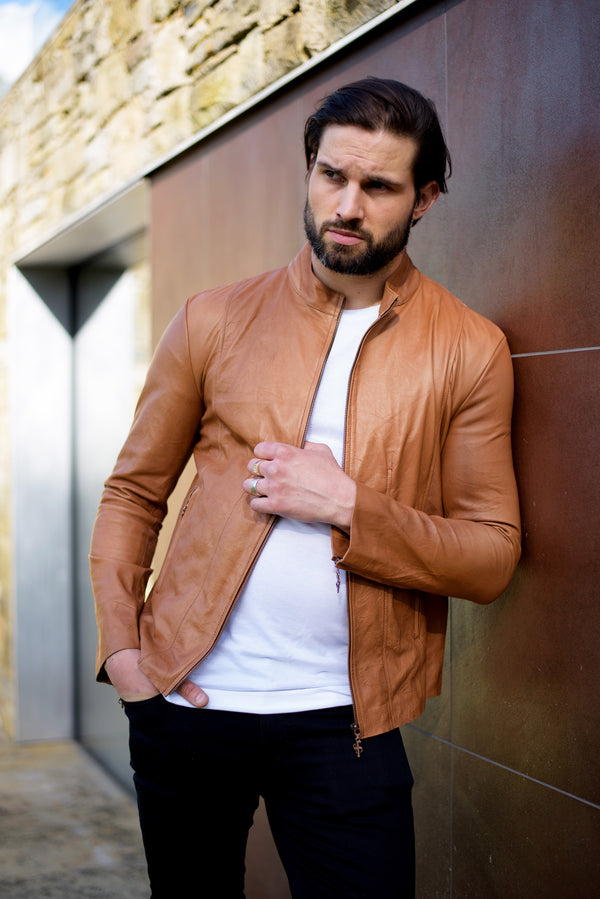 Father Sons Tan Lambs Leather Jacket - FSH205