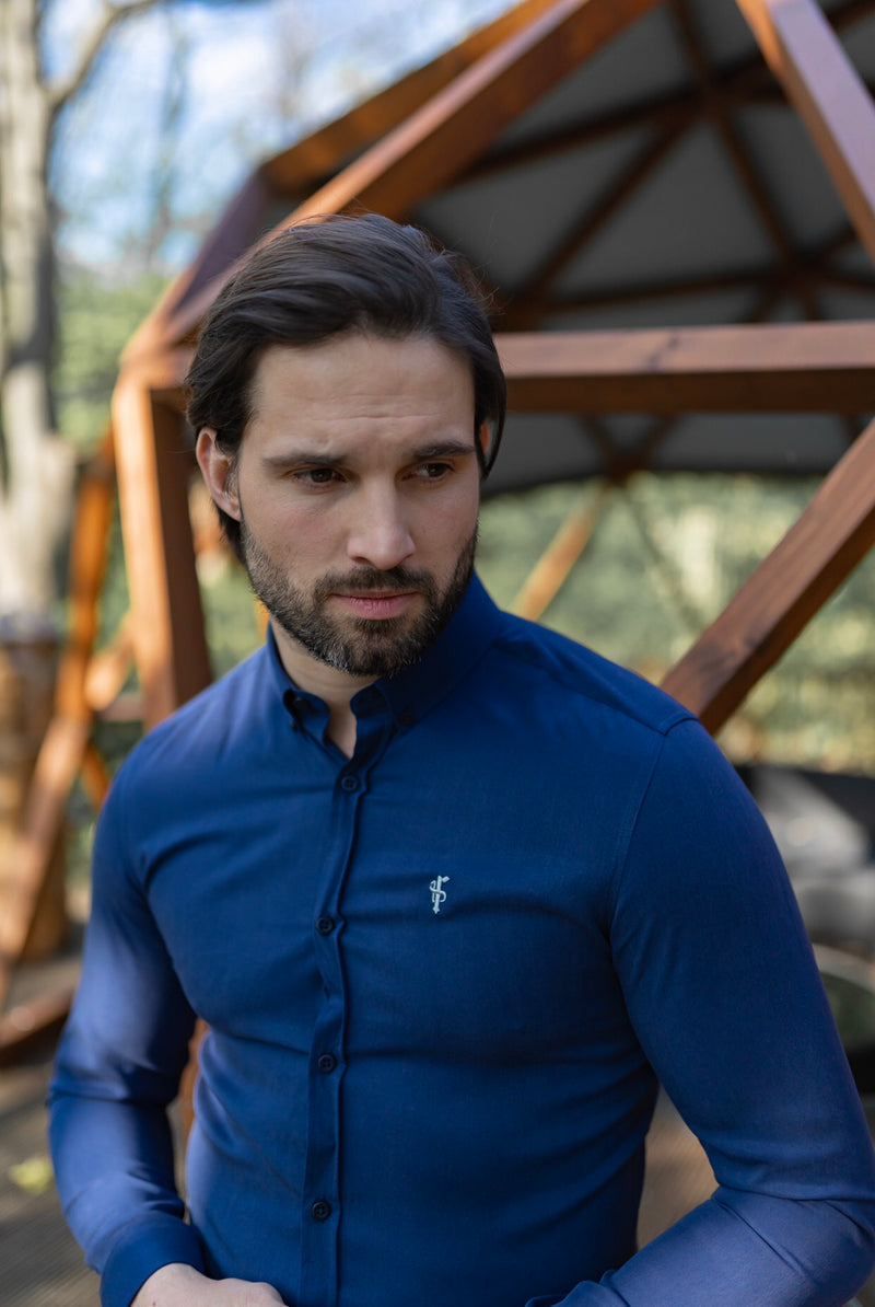 Father Sons Classic Navy Lyocell Long Sleeve (Blue Emblem) - FS467