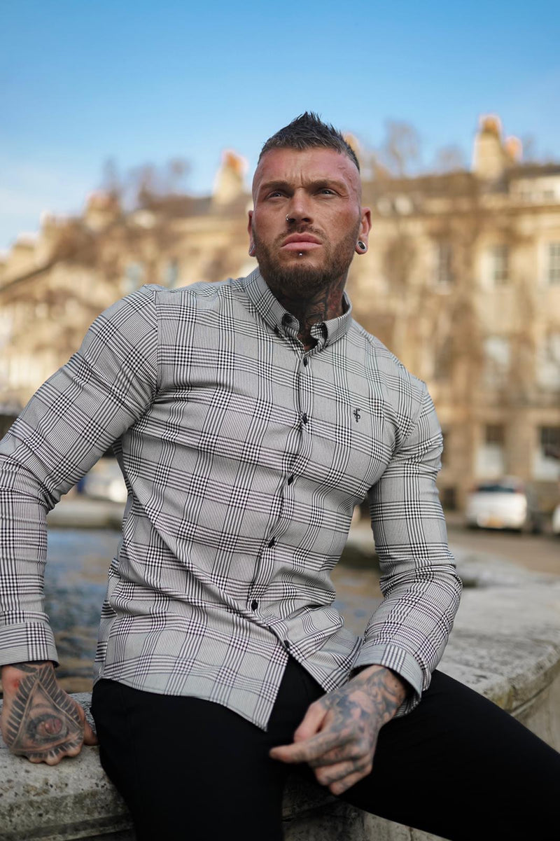 Father Sons Super Slim Stretch Prince Of Wales White and Black Check Long Sleeve - FS517