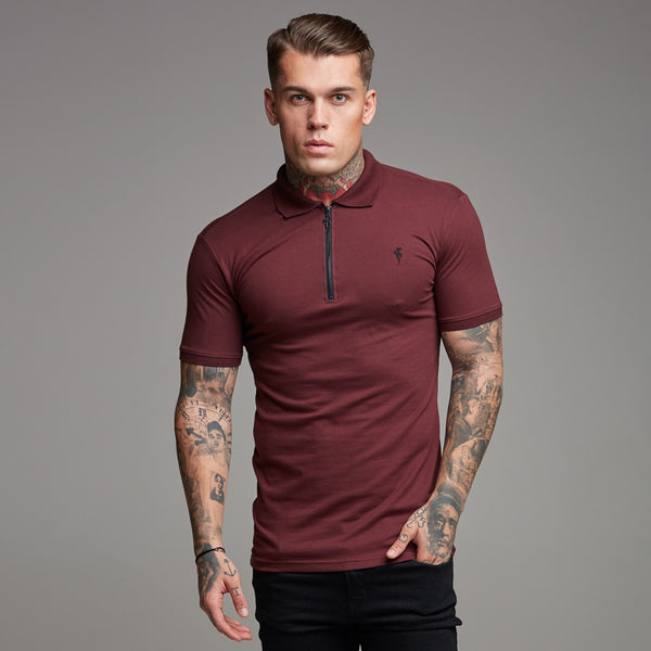 Father Sons Classic Burgundy and Black Zipped Polo Shirt - FSH333
