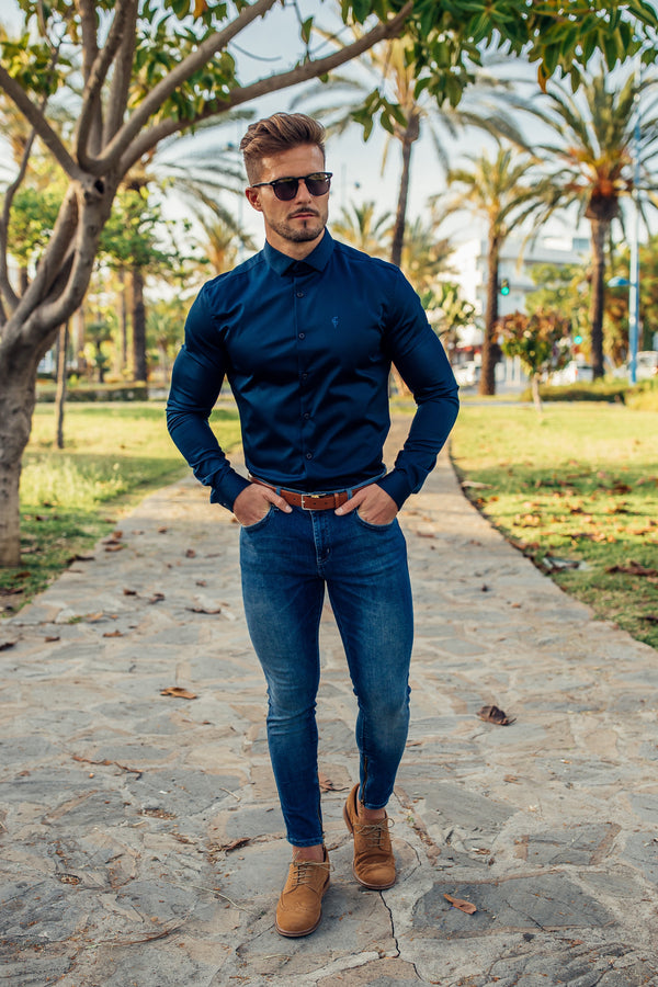 Father Sons Slim Sateen Classic Navy Long Sleeve - FS547